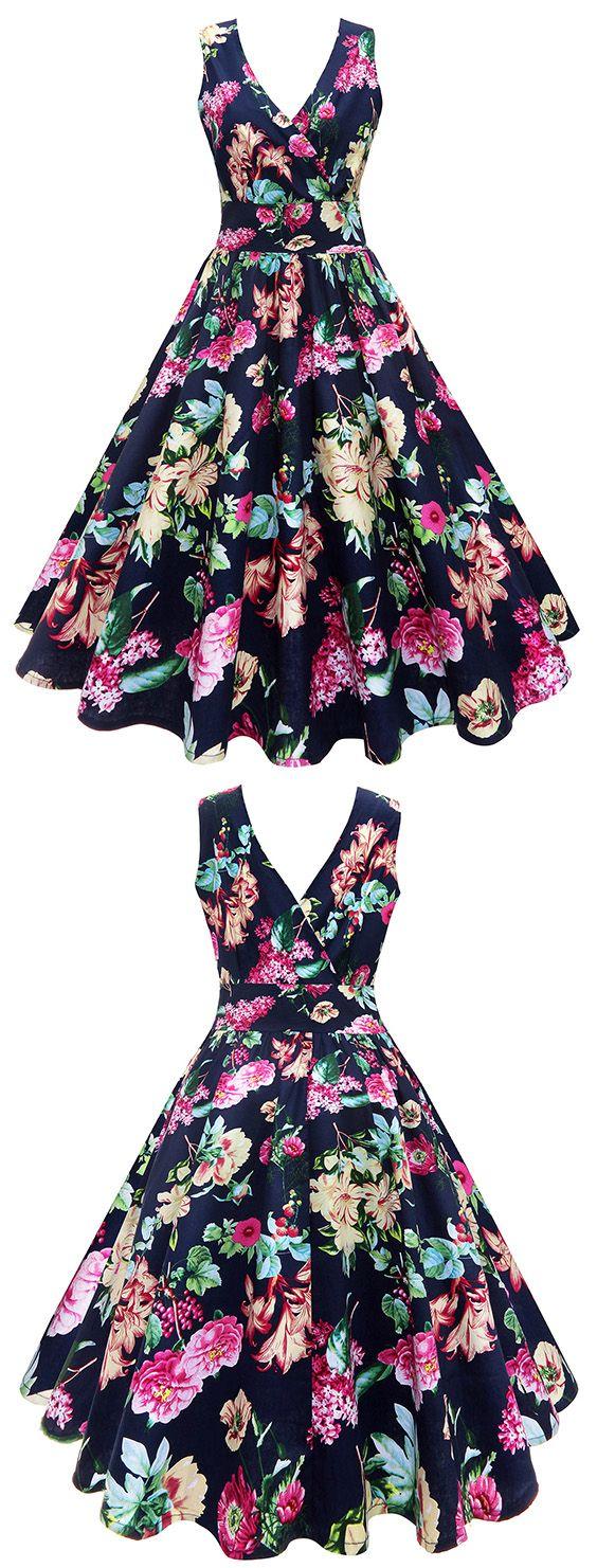 vintage dresses:Surplice Floral Vintage Dress