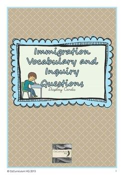 History of Immigration Word Bank and Inquiry Questions What do you get? • 32 word cards relating to immigration • Inquiry questions based on the content description for year six History strand of the Australian Curriculum How could you use this? • Classroom display board • Flash cards • Word pots • Class dictionary Australian Curriculum Links ACHHK115 and ACHHS119  Free Download.