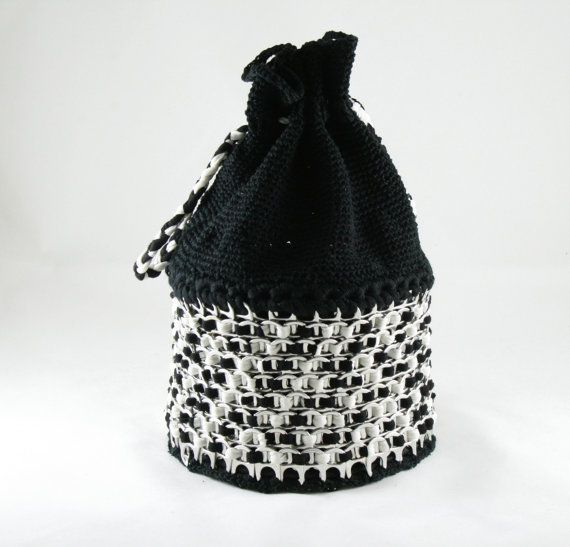 Upcycled  bag  purse with recycled soda can tabs by musarecycleart