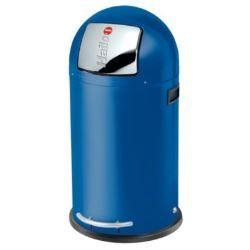 Poubelle de cuisine à pédale ronde en métal capacité 35L Kickmaxx Bleu électrique ...