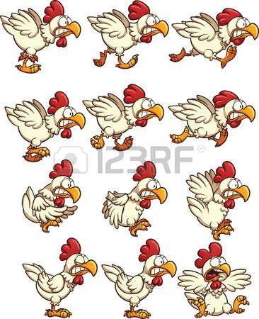 Kip sprites met hardlopen, stationair en vliegende animaties. Vector illustraties illustratie met eenvoudig verlopen. Elk op een aparte laag. Stock Illustratie