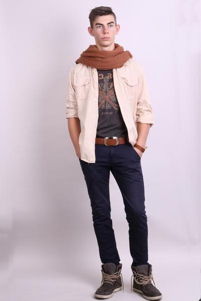 Diesel Mens M Casual Shirt Beige Cotton Buttons Down Collar - RetrospectClothes