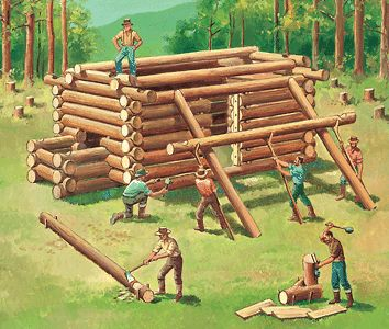 Log Cabin, a box-like dwelling made of small logs. The log cabins of the American pioneers were simple in construction because trees were their only building material, and the ax, adz, and auger were their only tools.  The log cabin became a symbol of frontier life.    The typical log cabin was a small, one-room hut with one door and perhaps one or more small windows.