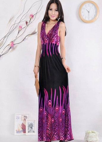 Vogue Double V Neck Embossing Long Dress – teeteecee - fashion in style