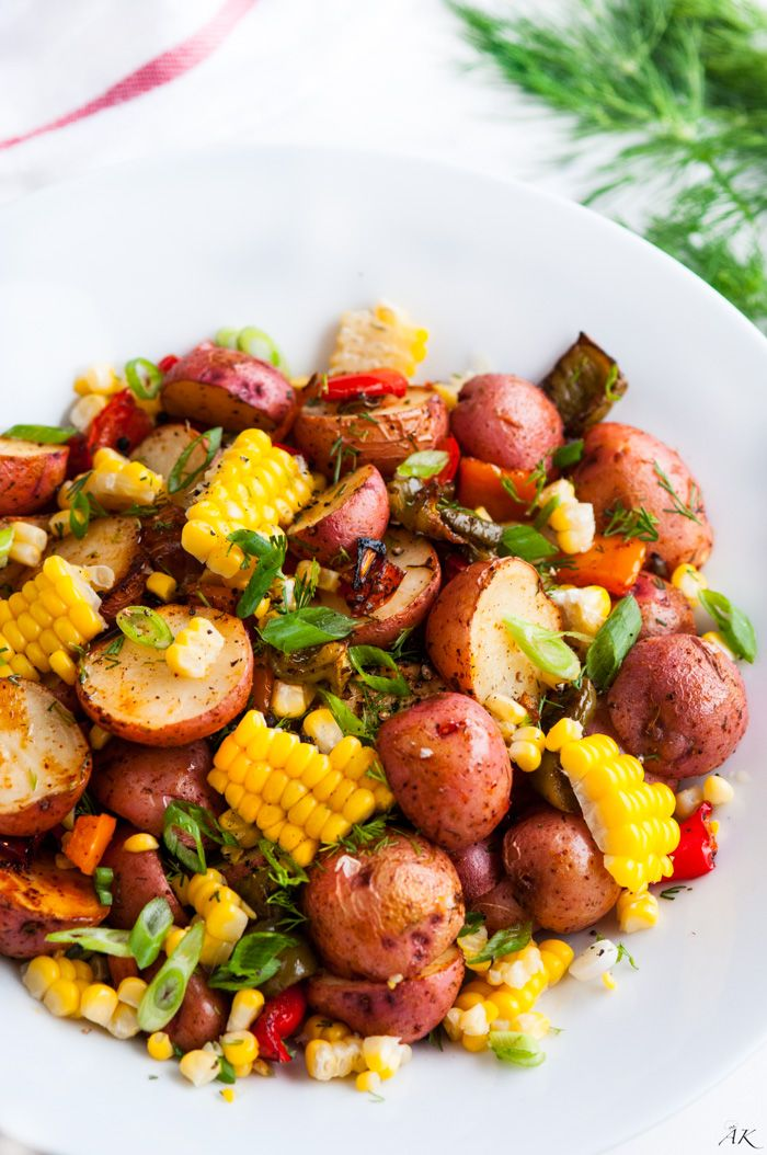 Southwest Roasted Potato Salad recipe - One pan roasted red potato salad with bell pepper, corn, fresh dill and spices drizzled with olive oil.