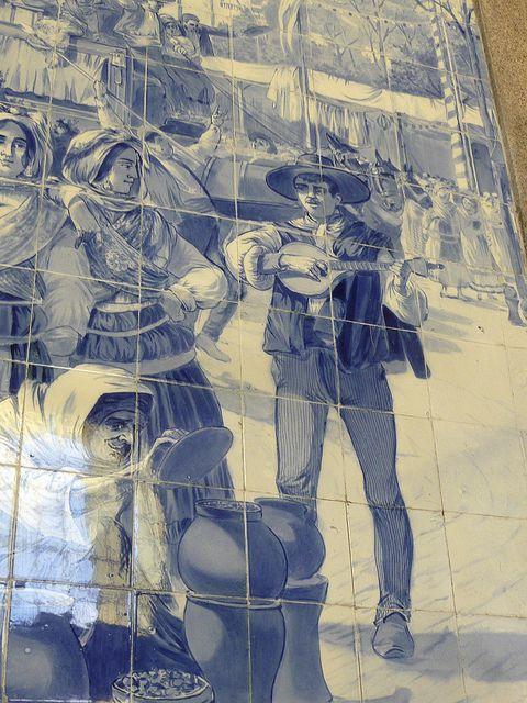 Portuguese guitar in the train station, Porto  Portugal