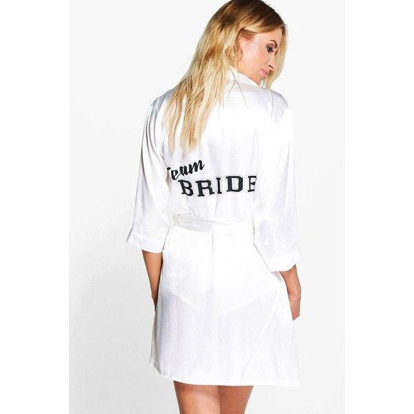 Boohoo Ella Team Bride Satin Kimono Robe ($26) ❤ liked on Polyvore featuring intimates, white, satin pajama sets, white kimono, white satin pajama set, white pajama set and satin kimono