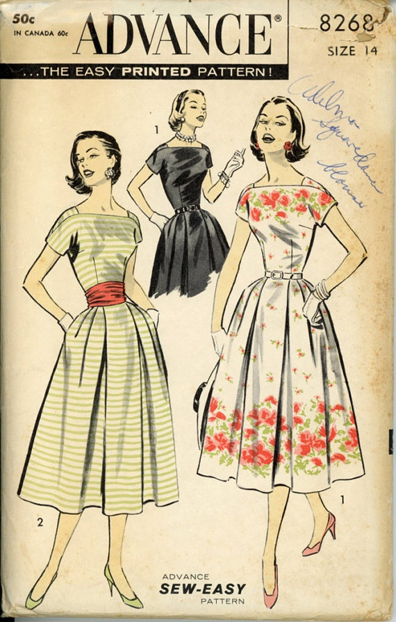 Advance 8268 Misses 1950s Dress Pattern Softly by CynicalGirl, $32.00
