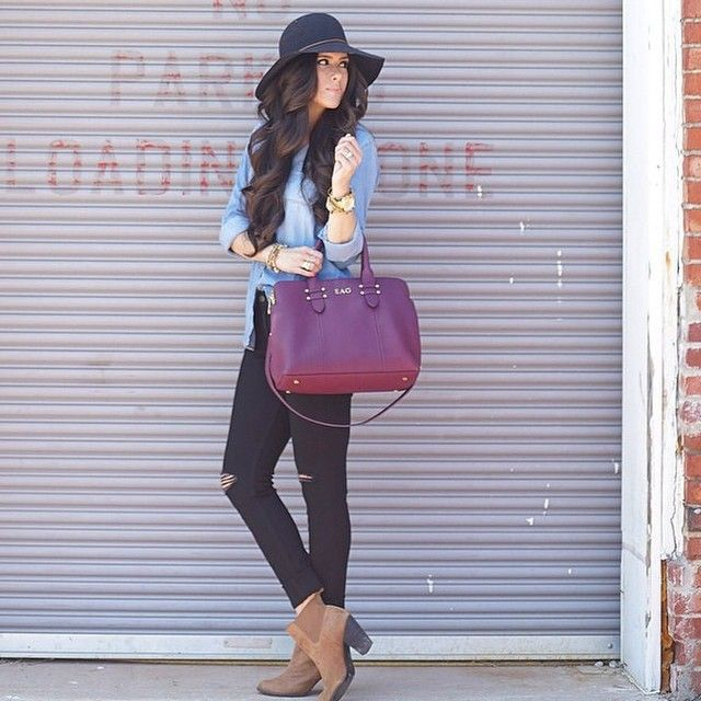 black hat, denim top, black jeans, ankle boots, cute bag