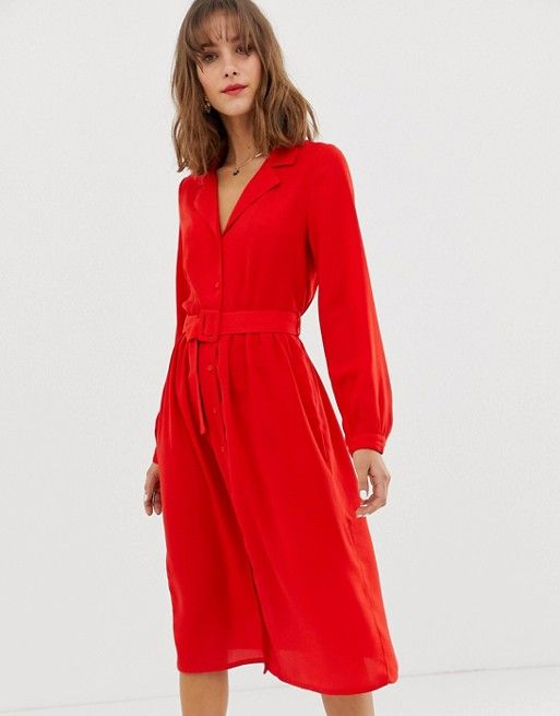 18eb135c37a Vero Moda midi shirt dress with fabric covered belt in 2019