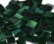 Dark Green Wispy Stained Glass Mosaic Tiles