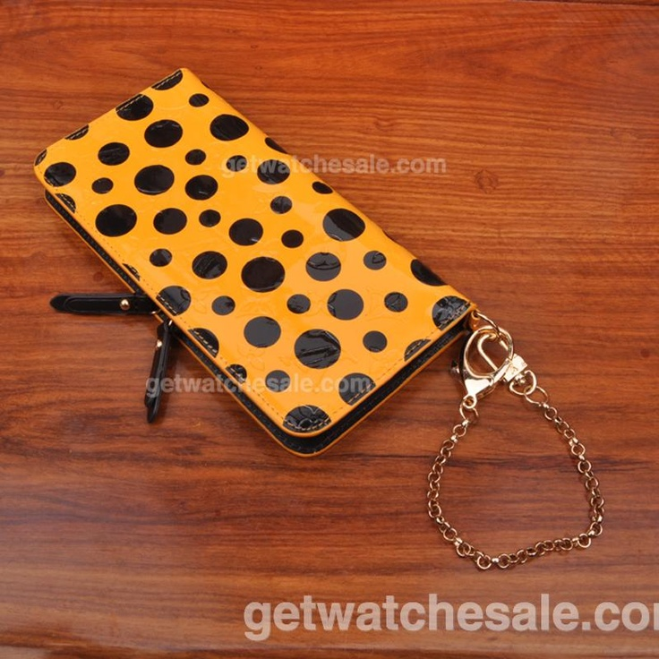 Louis Vuitton Monogram Vernis Leather Kusama Dots Infinity Insolite Wallet, orange exterior , Fine orange leather lining, Golden brass pieces and rivets, Zipper and double press snap closure, Inside functional card slots, bill compartments and zipped pockets, D-ring to attach the wallet to a bag with a golden chain, Our Price: $85.00 with Free Shipping, louis vuitton wallet price:  www.getwatchesale.com/cheap-louis-vuitton-wallets-on-sale-cb283.html
