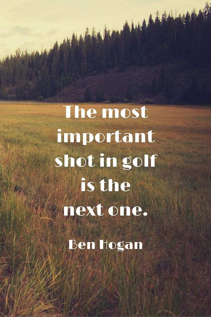 The most important shot in golf is the next one. - Ben Hogan. Top Golf Quotes here at #lorisgolfshoppe