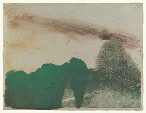 """Edgar Degas Forest in the Mountains, c. 1890 Monotype Loosely executed and almost abstract, they depict the idea of a landscape rather than any particular view or location, a concept that the artist referred to as """"imaginary landscapes."""""""