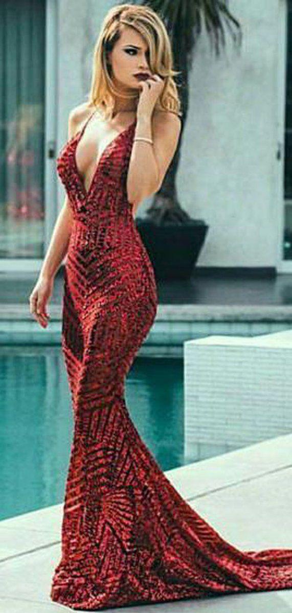 aeb9fd5e1ae Deep V-neck Red Sequin Mermaid Prom Dresses