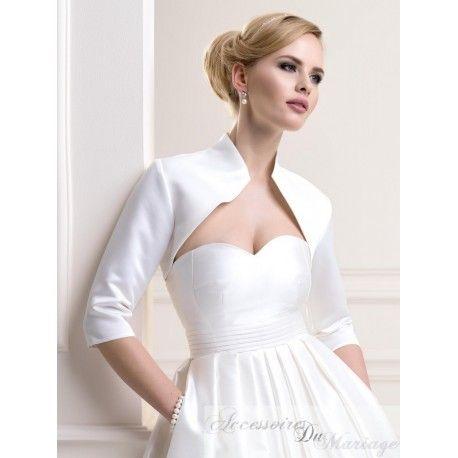 bolro mariage en satin du xs au 6xl ivoire blanc noir accessoires de - Bolero Mariage Blanc