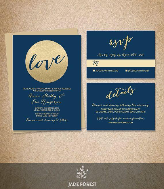 Gold Wedding Invitation Suite DIY // Metallic Gold Glitter Circle, Navy Blue Invite Set Printable PDF ▷ Invite + RSVP Card + Enclosure