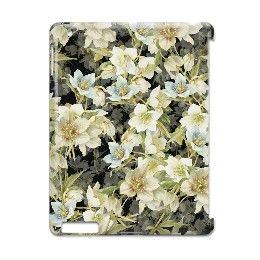 Mixed Christmas roses in white and blue on black iPad Case