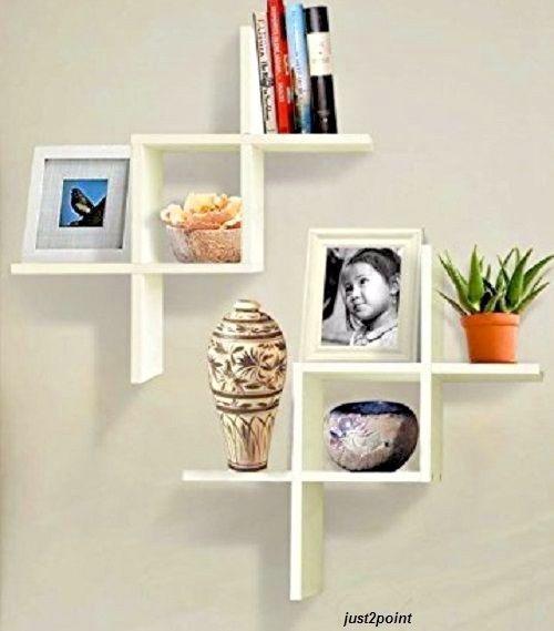 Wall Mount Floating Shelves Display Storage Unit CD DVD Bookcase Home Décor Set  #WallMountFloating #Modern
