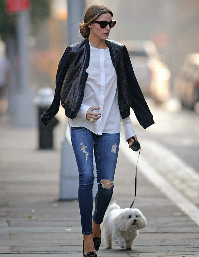 Olivia Palermo looking chic while walking Mr. Butler in New York City. Leather jacket. Ripped jeans. White basic shirt