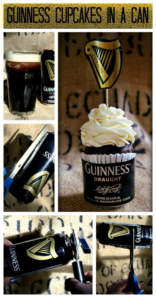 Guinness cupcakes from beer-crafts.com. Click on link for detailed tutorial. http://www.beer-crafts.com/2013/03/05/a-stout-idea/