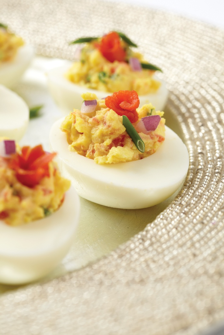"""Smoked salmon deviled eggs with sour cream and chives from """"D'Lish Deviled Eggs"""" by @Kathy Casey."""