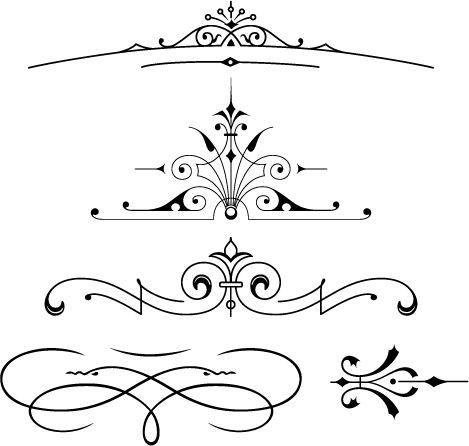 Free Font | Set of vector vintage ornaments