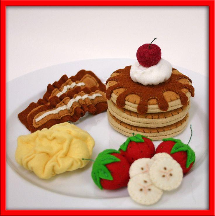 Wool Felt Play Food - Pancake and Egg Breakfast. $35.00, via Etsy.