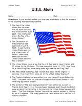 In this patriotic worksheet, kids solve word problems related to U.S. trivia. #socialstudies