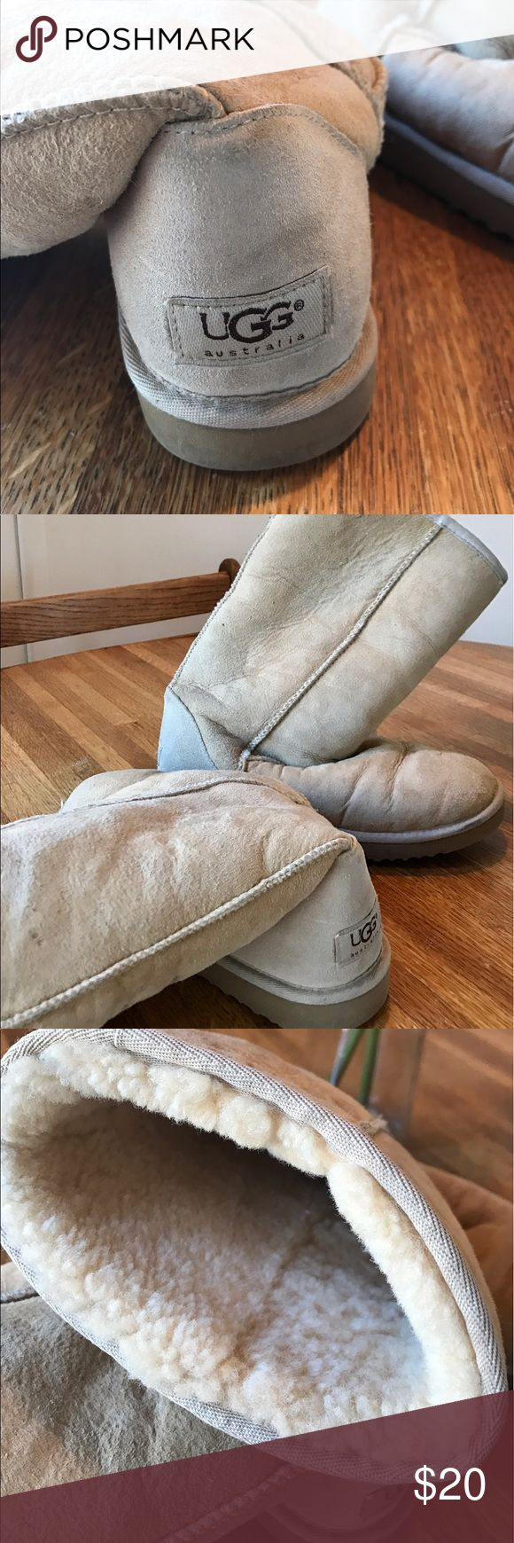 Classic tall Ugg Boots Classic tall Ugg boots. Camel/tan suede. Mostly worn on sand. Great condition. Fully lined in with sheepskin. UGG Shoes Winter & Rain Boots