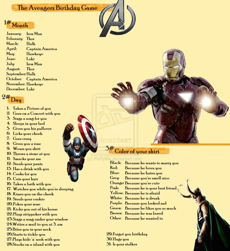 Avengers birthday scenario game
