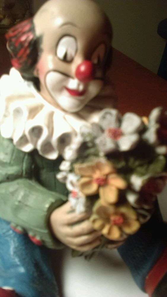 Vintage German Kunstuck Dieser Gilde Handwerk Clown With Flowers Sitting down