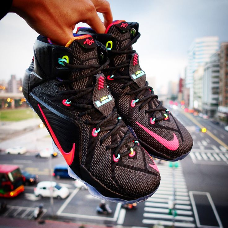 best loved 8a551 b4fc6 Details about Nike Lebron XII 12 EP Data James Black Punch Mens Basketball  Shoes Sneakers ...
