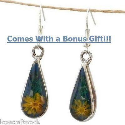 Silver-Earrings-Handmade-Dangle-Fashion-Alpaca-Flowers-Teardrop-Resin-Mexican