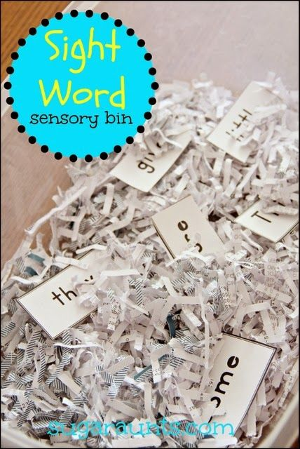 Sight words in a sensory bin. This post has so many fun ideas to make learning sight words fun! {Sugar Aunts}
