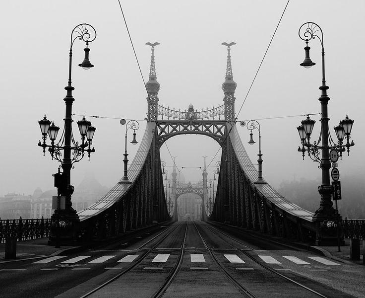 Danube bridge in fog