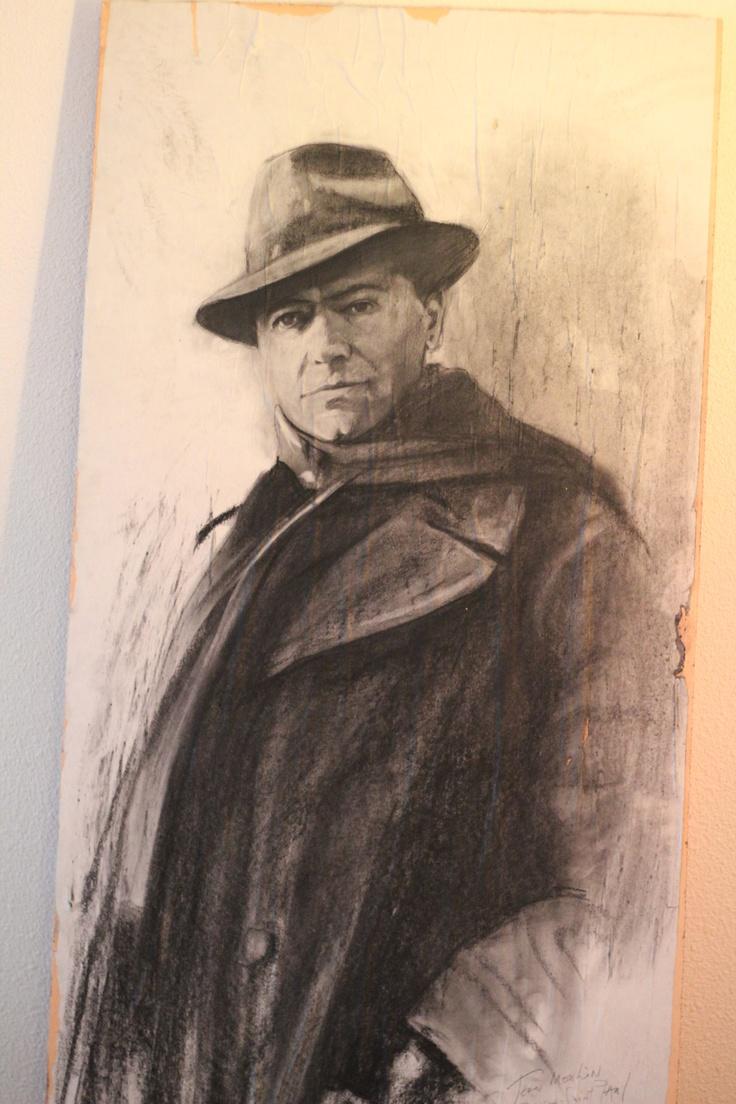 Portrait de Jean Moulin sur une porte de la prison Saint Paul offert par Ernest Pignon Ernest à Laurent Constantin  - © Copyright Ernest Pignon Ernest
