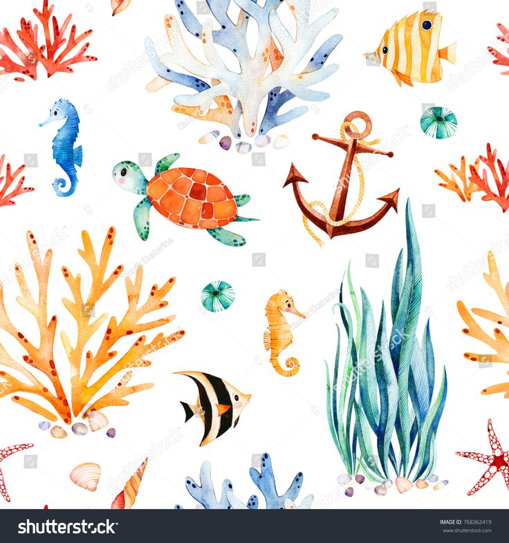 Coral Reef Background: Underwater Multicolored Seamless Pattern.Seaworld