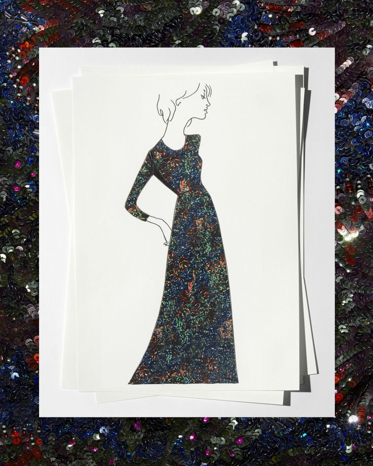 Sketch of custom black silk gown with floral hand-embroidered sequins, worn by Adele on her 2016 tour