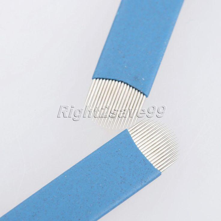 100PCS 18 pin U Shape Tattoo Blue Needles 3D Embroidery Manual Eyebrow Blade 18pins Needle Permanent Makeup Eyebrow Microblading #Affiliate