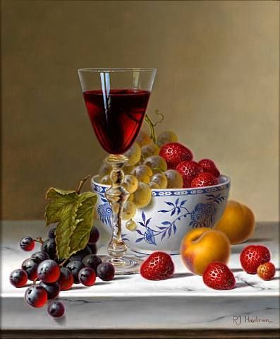 Roy Hodrien. Still Life with Red Wine and Fruit on Marble