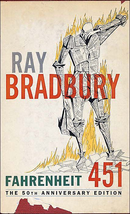 Farenheit 451. Ray Bradbury.   One of the scariest, yet most fantastic books I've ever read. He was a visionary.