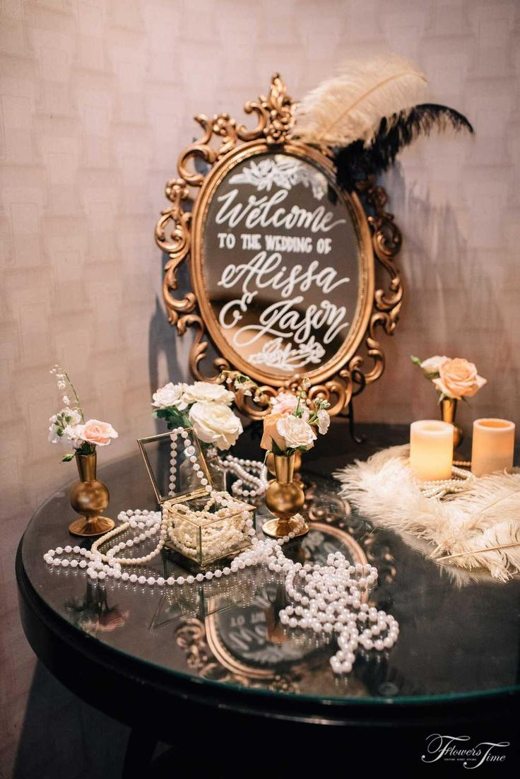 Gatsby style reception lobby mirror feather decor