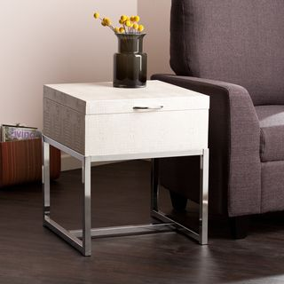 Upton Home Mirren Cream Reptile Storage Side/ End Table   Overstock.com Shopping - The Best Deals on Coffee, Sofa & End Tables
