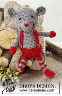 "DROPS Jul: Virkad DROPS mus i ""Big Merino"" med hängslen ~ DROPS Design - Crochet Mouse Stuart Little"