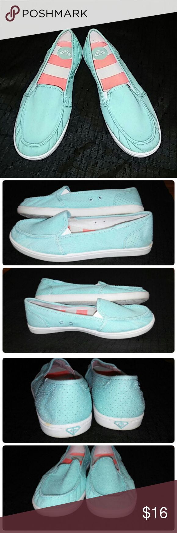 FINAL PRICE Roxy Lido II Boat Shoes Final price. Reasonable offers always considered on items over $15. Occasionally on items under $15. Bundle deals available!! Don't miss these shoes!!!  Beautiful light turquoise slip on dock shoes. Washed twill canvas shoe with padded canvas insoles. Barely worn, soles have barely any use. Small discoloration spot as seen in picture 4. Roxy Shoes