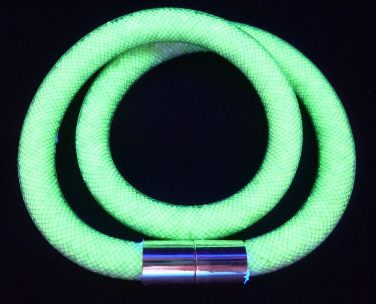 """14"""" 360mm Czech Glass Beads Collar Tube Necklace Uranium Green UV Glowing by MuchMoreThanButtons on Etsy"""