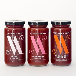 Victoria Amory Condiments Add a little elegance to your everyday meals with these ketchups, inspired by the flavors of the Mediterranean coast. A spoonful of their Champagne or Sherry varieties can transform any slider from backyard bites into dinner party-worthy treats.