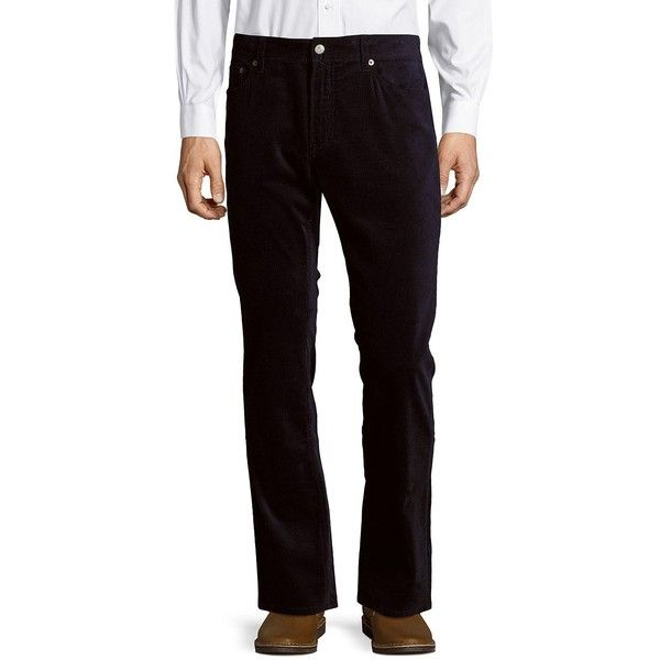 Ralph Lauren Purple Label Regular Fit Straight Leg Corduroy Pants ($150) ❤ liked on Polyvore featuring men's fashion, men's clothing, men's pants, men's dress pants, blue, mens corduroy pants, mens zipper pants, mens blue pants, mens zip off pants and mens elastic waistband pants