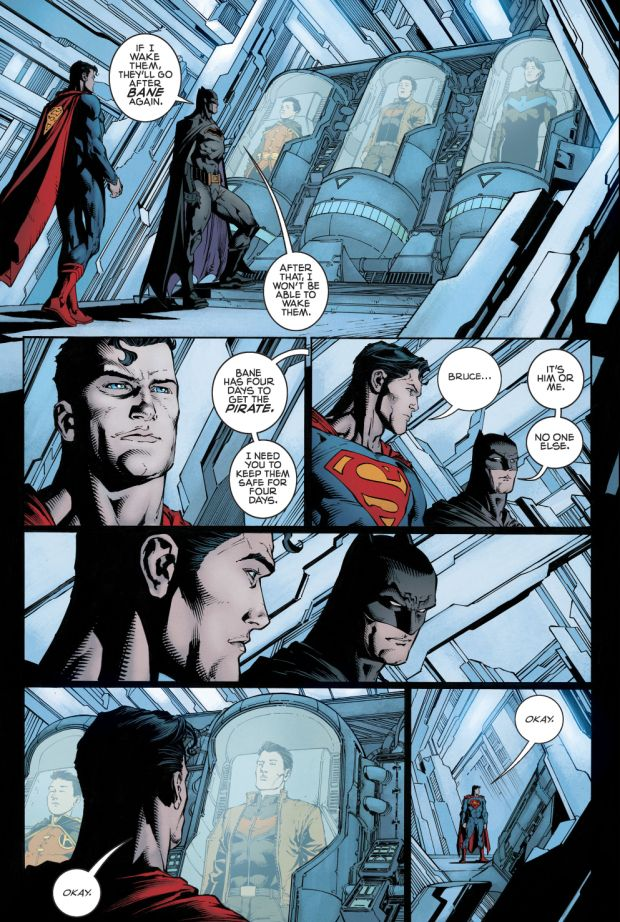 BATMAN PLACES THE ROBINS IN KRYPTONIAN STASIS (Batman (2016) Issue #17) - 2/2 (After the three Robins ignore Batman's order of getting out of Gotham, it is implied that they went after Bane themselves. Since they were found hanging in the BatCave, it is clear that they lost. Batman puts them in stasis to keep them safe until Bane is dealt with.)